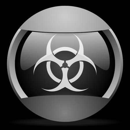 virus round gray web icon on black background Stock Photo - 16314732