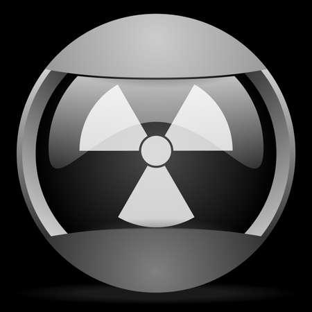 radiation round gray web icon on black background Stock Photo - 16314458
