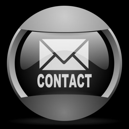 contact round gray web icon on black background Stock Photo - 16314717