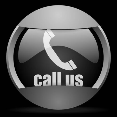 call us round gray web icon on black background Stock Photo - 16314695