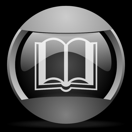 book round gray web icon on black background photo