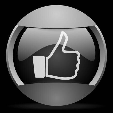 thumb up round gray web icon on black background Stock Photo - 16314636