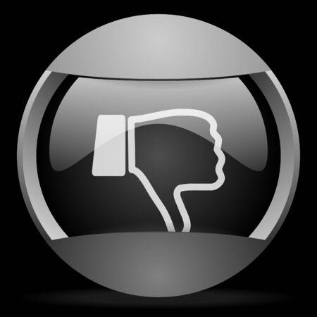 pollice in gi: pollice verso il basso rotondo icona web grigio su sfondo nero Archivio Fotografico