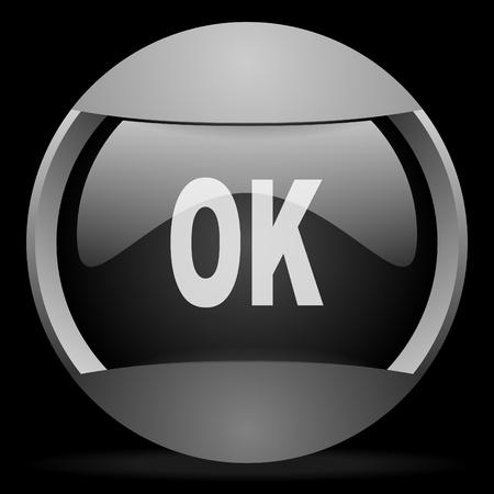 ok round gray web icon on black background Stock Photo - 16314506