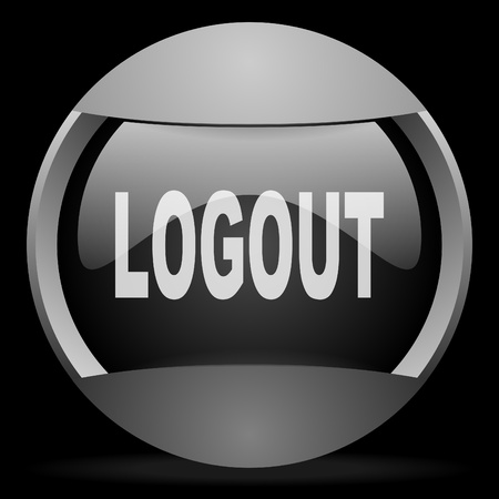 logout round gray web icon on black background