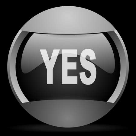 yes round gray web icon on black background Stock Photo - 16314515