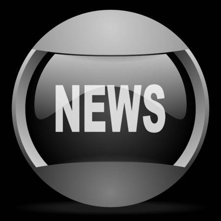 news round gray web icon on black background Stock Photo - 16314577