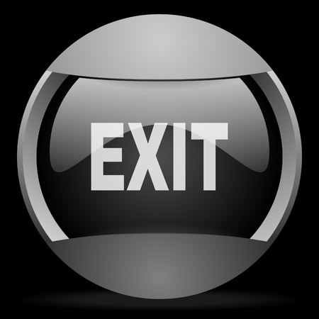 Log Out: exit round gray web icon on black background Stock Photo