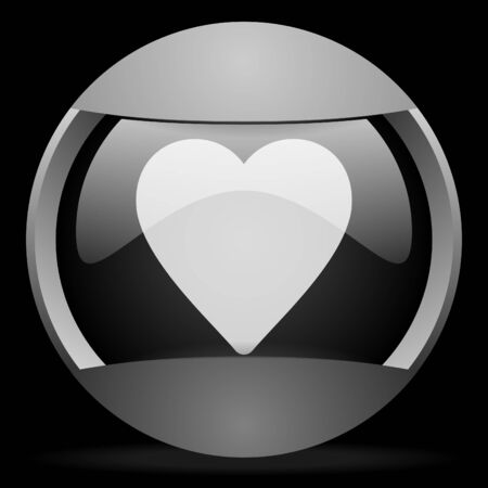 heart round gray web icon on black background photo