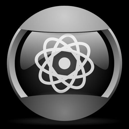 atom round gray web icon on black background Stock Photo - 16314773