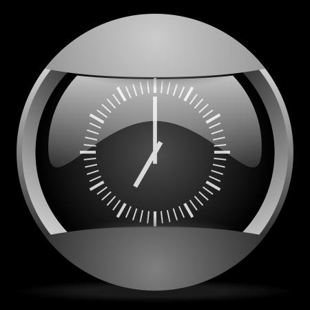 clock round gray web icon on black background photo