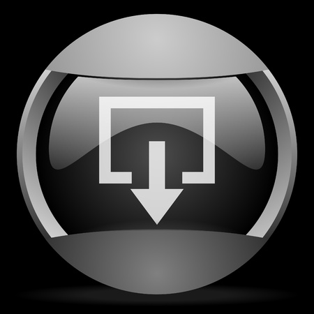 exit round gray web icon on black background Stock Photo - 16314460