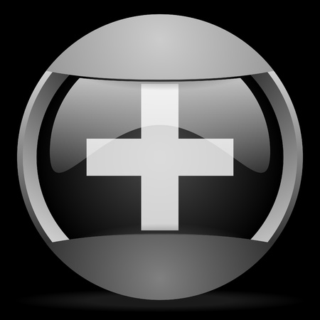 emergency round gray web icon on black background photo