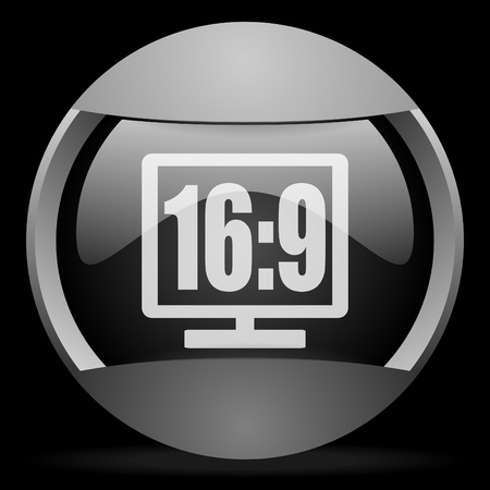 16 9 display round gray web icon on black background photo