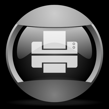 printer round gray web icon on black background photo
