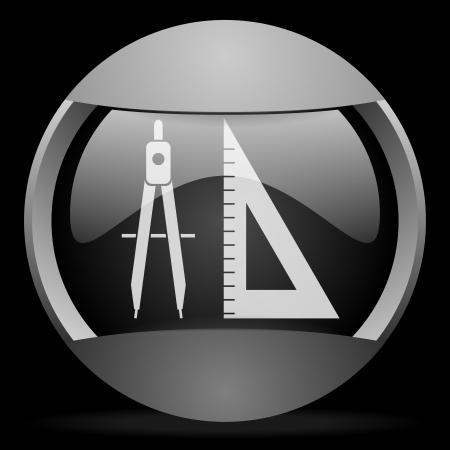 e-learning round gray web icon on black background Stock Photo - 16314671