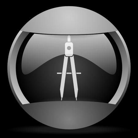 e-learning round gray web icon on black background Stock Photo - 16314571