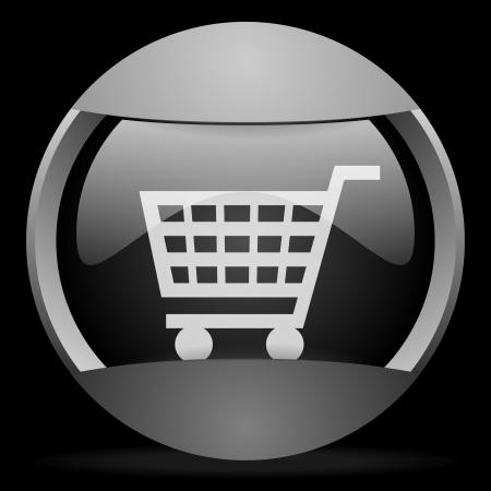 shopping cart round gray web icon on black background Stock Photo - 16314631