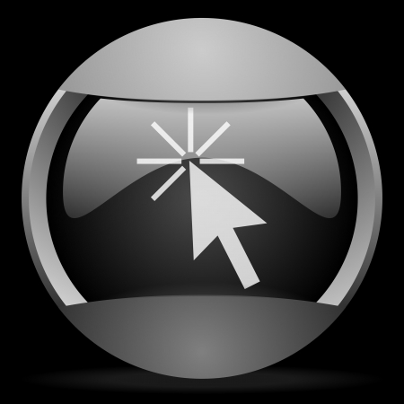 click here round gray web icon on black background Stock Photo - 16314632