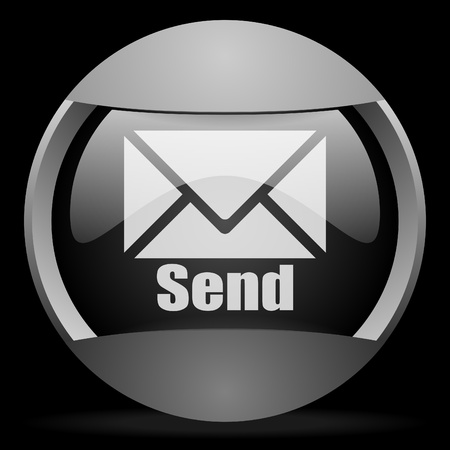 email us: send round gray web icon on black background Stock Photo