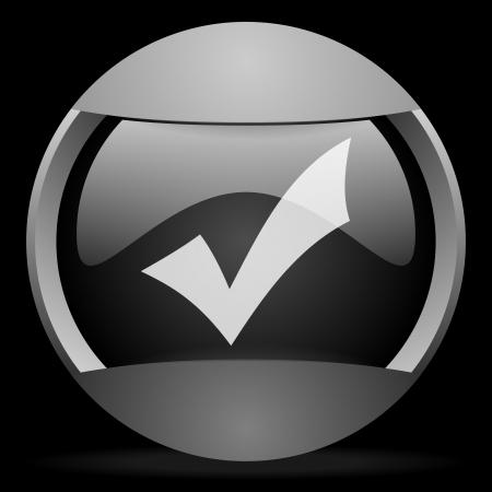 accept round gray web icon on black background Stock Photo - 16314496