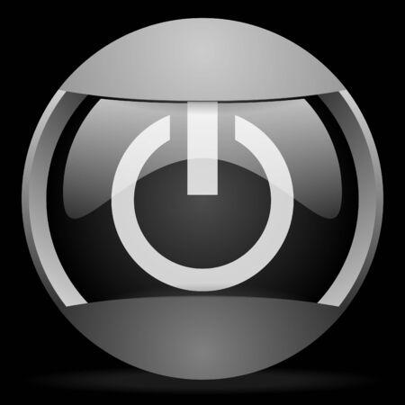 power round gray web icon on black background Stock Photo - 16314527