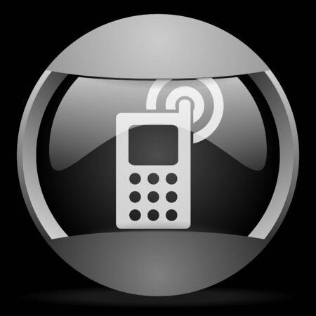 cellphone round gray web icon on black background Stock Photo - 16314634
