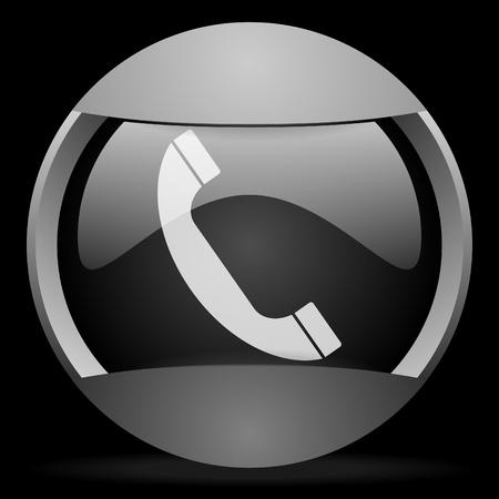 contact info: telefono tutto grigio icona web su sfondo nero Archivio Fotografico