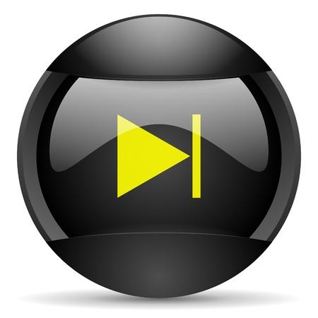 next round black web icon on white background photo