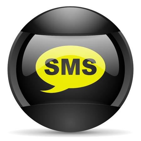 sms round black web icon on white background Stock Photo - 16314936