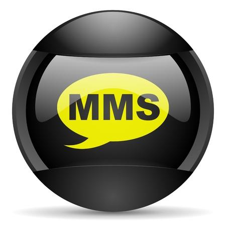 mms round black web icon on white background Stock Photo - 16314933