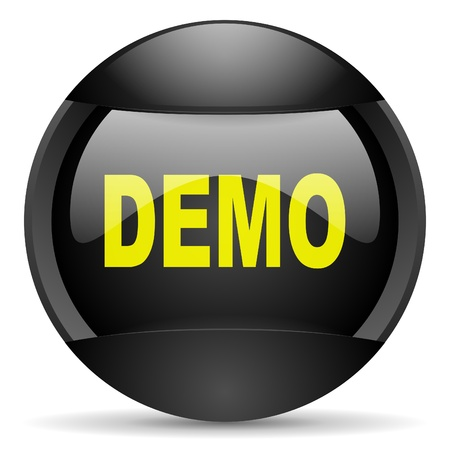 demo round black web icon on white background photo