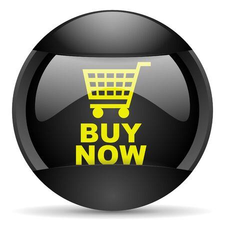 buy now round black web icon on white background Stock Photo - 16315017