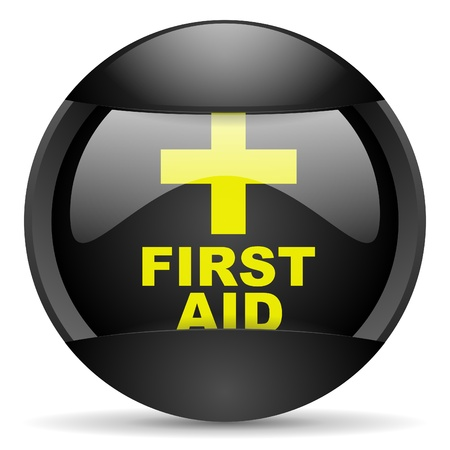 first aid round black web icon on white background Stock Photo - 16314901