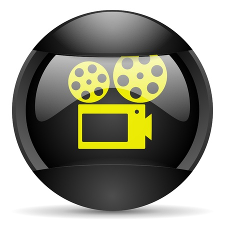 cinema round black web icon on white background photo
