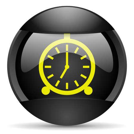 alarm clock round black web icon on white background photo