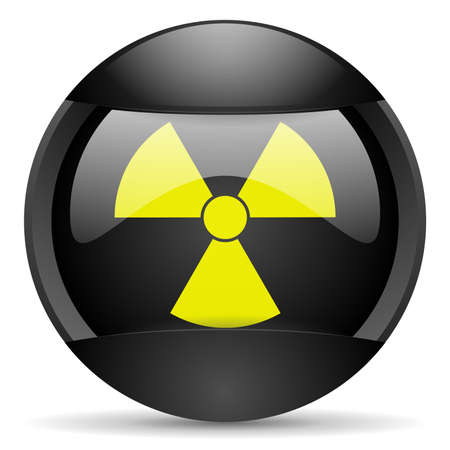 radiation round black web icon on white background Stock Photo - 16314775