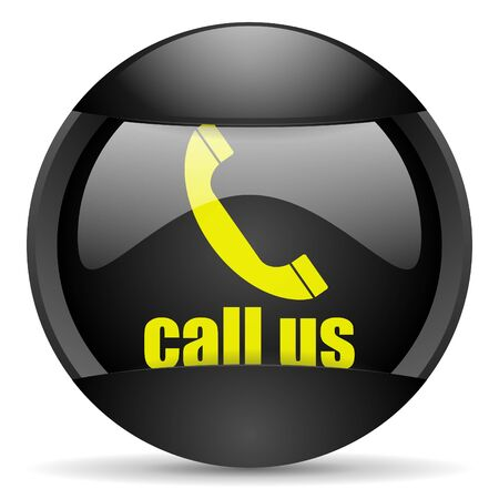 call us round black web icon on white background Stock Photo - 16314955