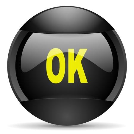 ok round black web icon on white background Stock Photo - 16314786