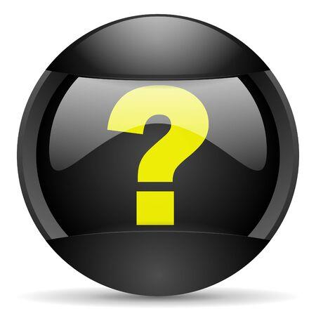 question mark round black web icon on white background photo