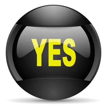 yes round black web icon on white background Stock Photo - 16314824