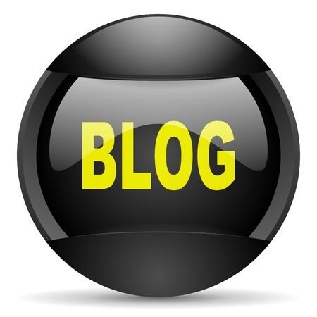 blog round black web icon on white background photo