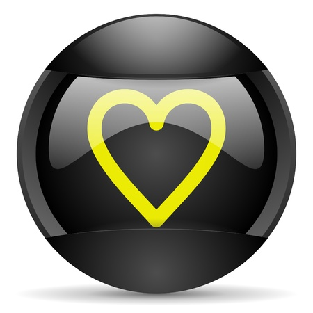 heart round black web icon on white background photo