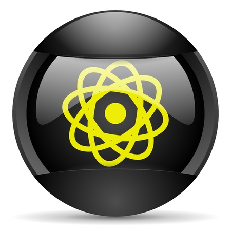 atom round black web icon on white background Stock Photo - 16315032