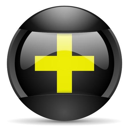 emergency round black web icon on white background Stock Photo - 16314706