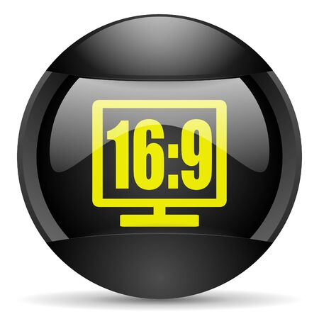 16 9 display round black web icon on white background photo