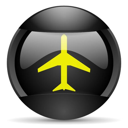 airplane round black web icon on white background photo