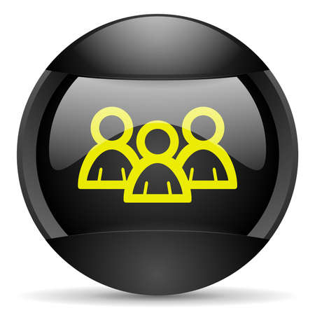 forum round black web icon on white background photo