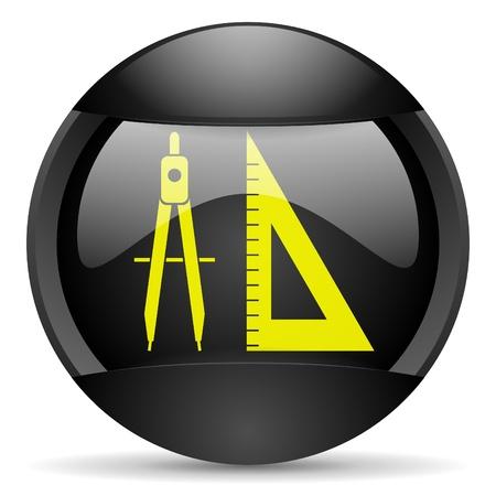 e-learning round black web icon on white background Stock Photo - 16314949