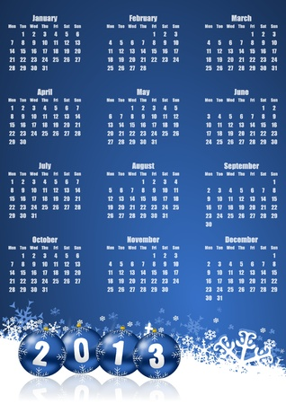 new years 2013 calendar with christmas balls photo